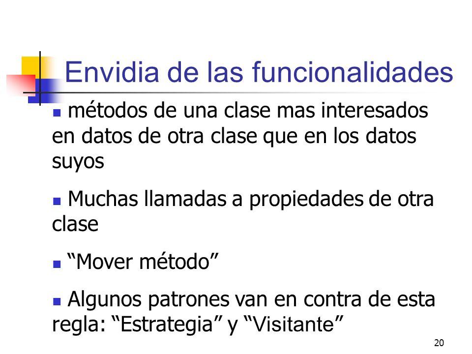20 Envidia de las funcionalidades métodos de una clase mas interesados en datos de otra clase que en los datos suyos Muchas llamadas a propiedades de
