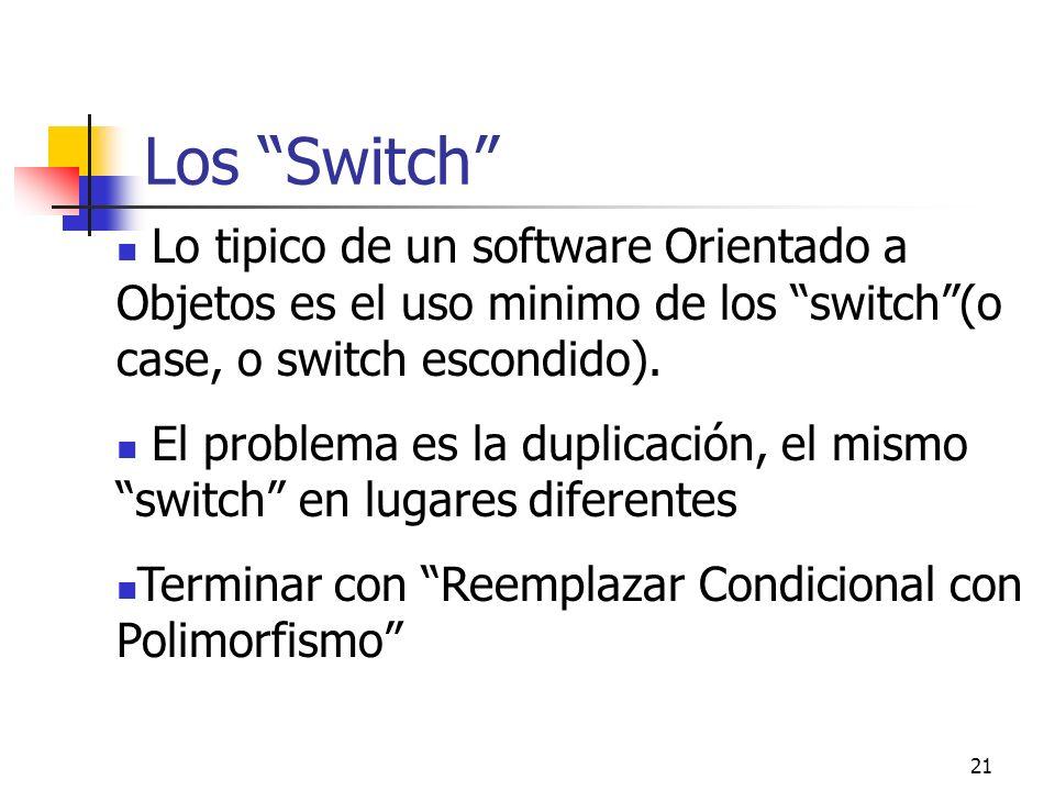 21 Los Switch Lo tipico de un software Orientado a Objetos es el uso minimo de los switch(o case, o switch escondido). El problema es la duplicación,