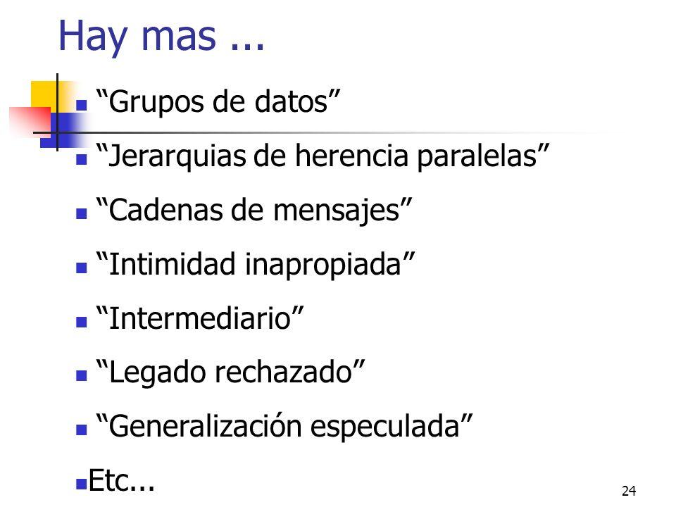 24 Hay mas... Grupos de datos Jerarquias de herencia paralelas Cadenas de mensajes Intimidad inapropiada Intermediario Legado rechazado Generalización