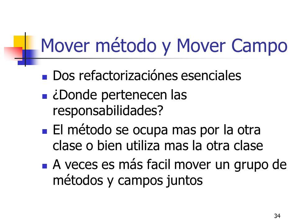 34 Mover método y Mover Campo Dos refactorizaciónes esenciales ¿Donde pertenecen las responsabilidades? El método se ocupa mas por la otra clase o bie