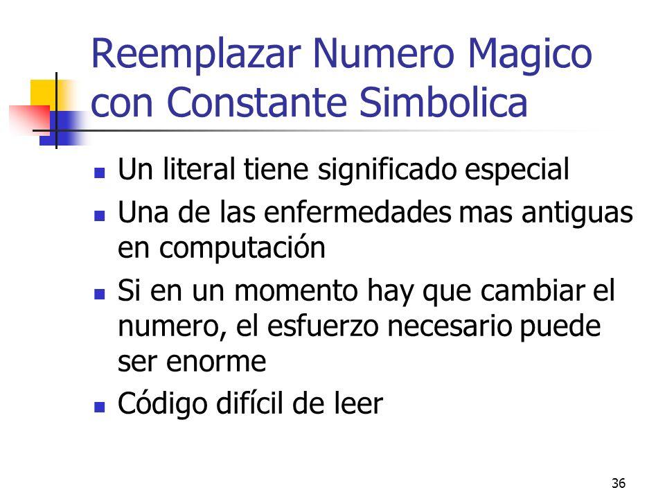 36 Reemplazar Numero Magico con Constante Simbolica Un literal tiene significado especial Una de las enfermedades mas antiguas en computación Si en un momento hay que cambiar el numero, el esfuerzo necesario puede ser enorme Código difícil de leer
