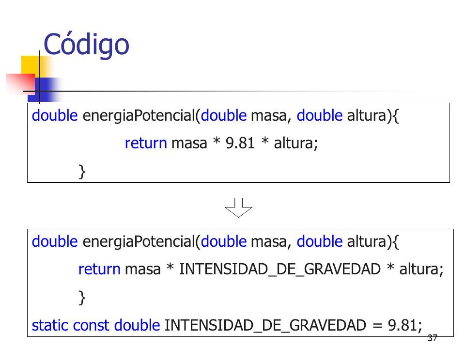 37 Código double energiaPotencial(double masa, double altura){ return masa * 9.81 * altura; } double energiaPotencial(double masa, double altura){ return masa * INTENSIDAD_DE_GRAVEDAD * altura; } static const double INTENSIDAD_DE_GRAVEDAD = 9.81;