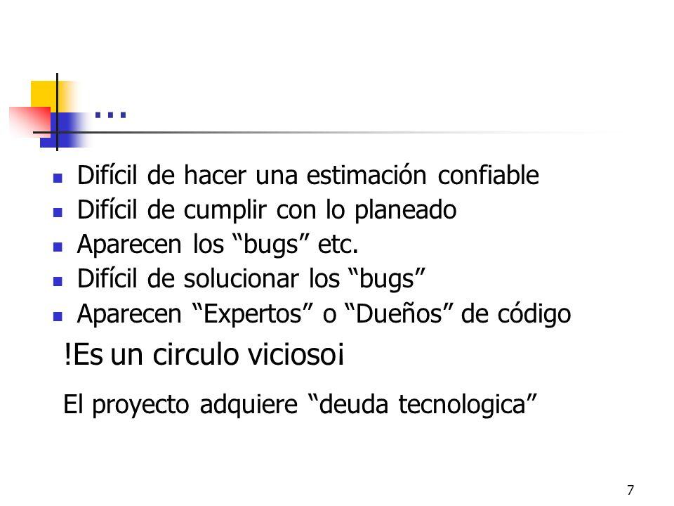 7... Difícil de hacer una estimación confiable Difícil de cumplir con lo planeado Aparecen los bugs etc. Difícil de solucionar los bugs Aparecen Exper
