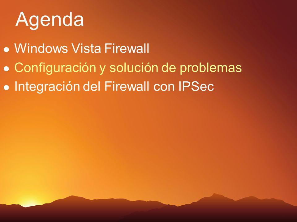 Agenda Windows Vista Firewall Configuración y solución de problemas Integración del Firewall con IPSec
