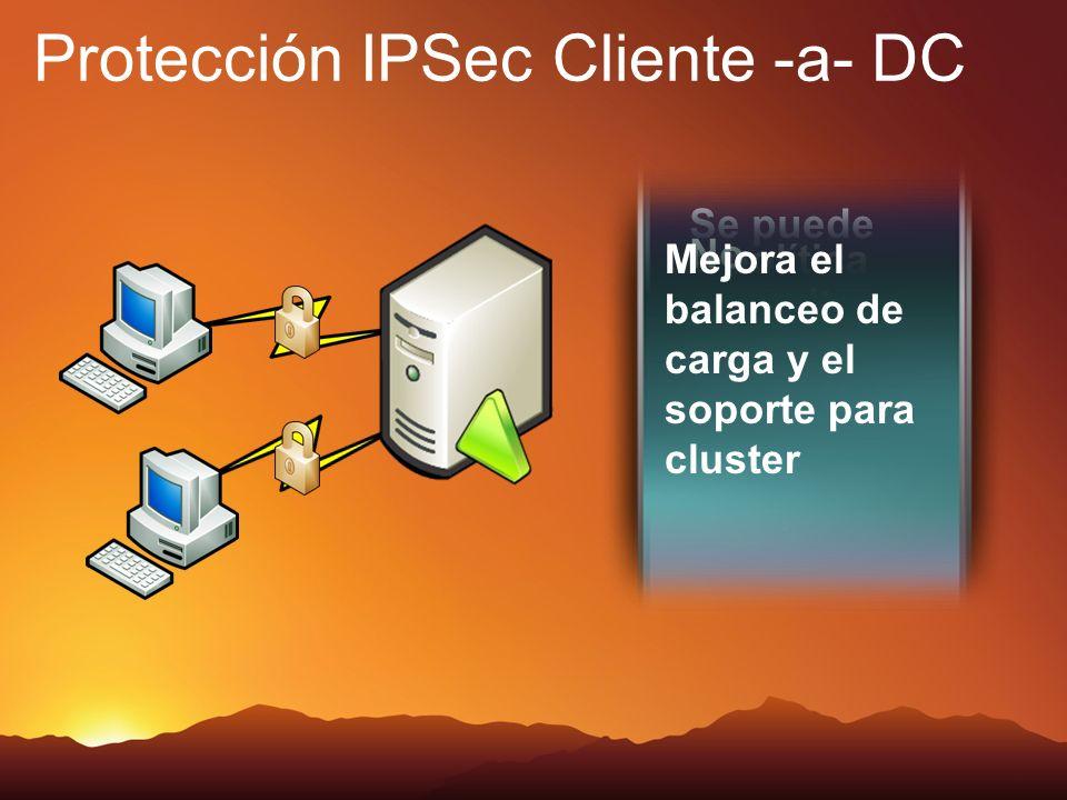 Se puede requerir trafico protegido para los DC La política IPSec en un dominio puede solicitar trafico protegido pero no requerirlo No necesitas conf