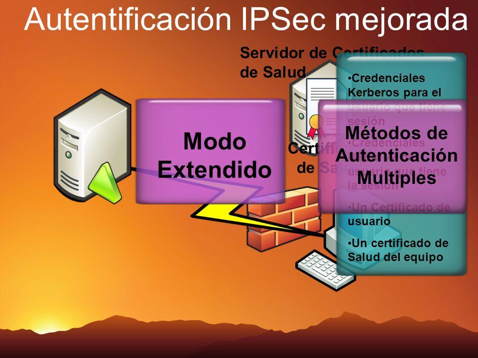 Servidor de Certificados de Salud Autentificación IPSec mejorada Certificado de Salud Modo Extendido Credenciales Kerberos para el usuario que tiene s