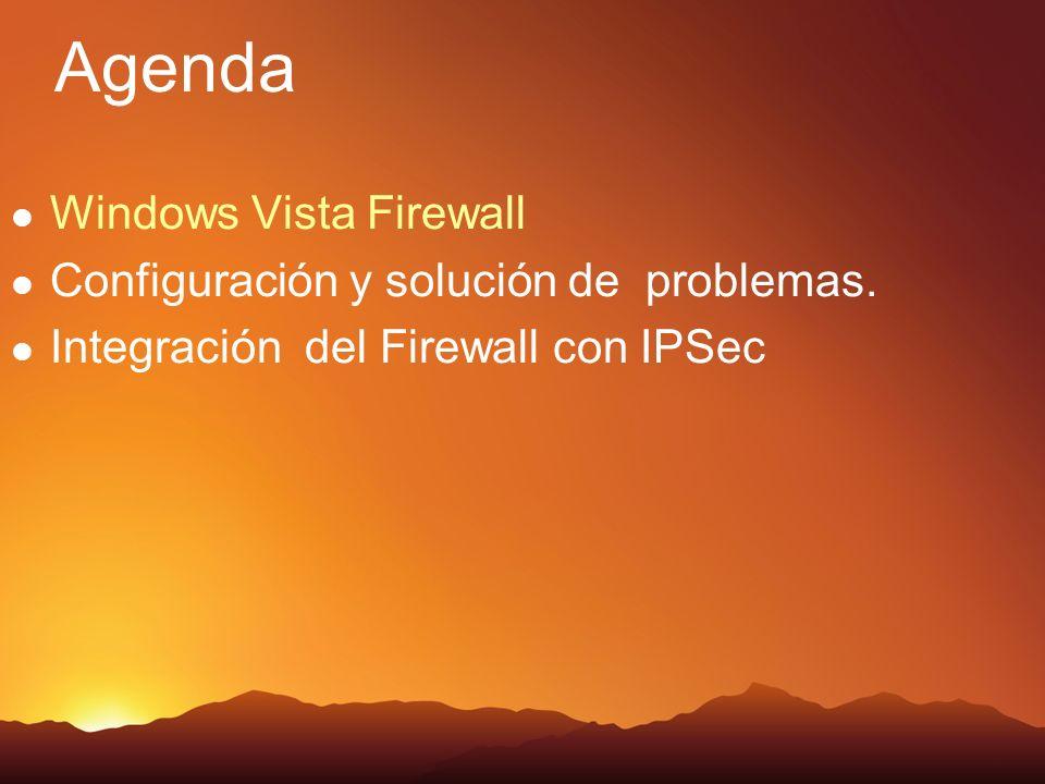 Agenda Windows Vista Firewall Configuración y solución de problemas. Integración del Firewall con IPSec