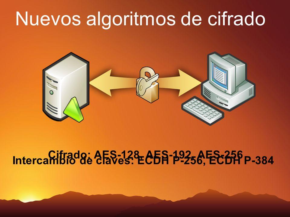 Nuevos algoritmos de cifrado Cifrado: AES-128, AES-192, AES-256 Intercambio de claves: ECDH P-256, ECDH P-384