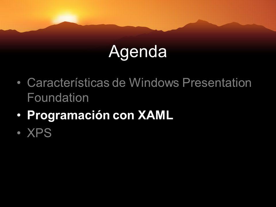 Agenda Características de Windows Presentation Foundation Programación con XAML XPS