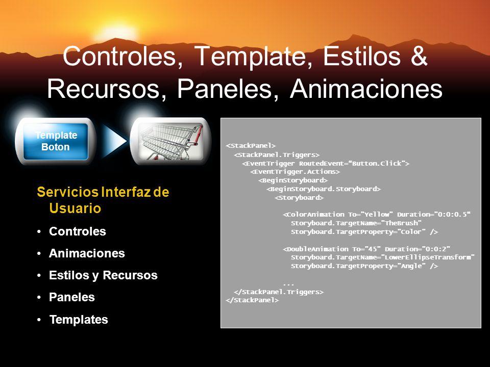 Controles, Template, Estilos & Recursos, Paneles, Animaciones <ColorAnimation To=