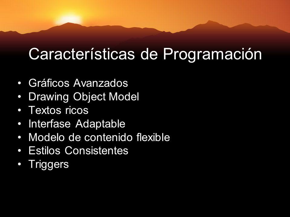 Características de Programación Gráficos Avanzados Drawing Object Model Textos ricos Interfase Adaptable Modelo de contenido flexible Estilos Consistentes Triggers