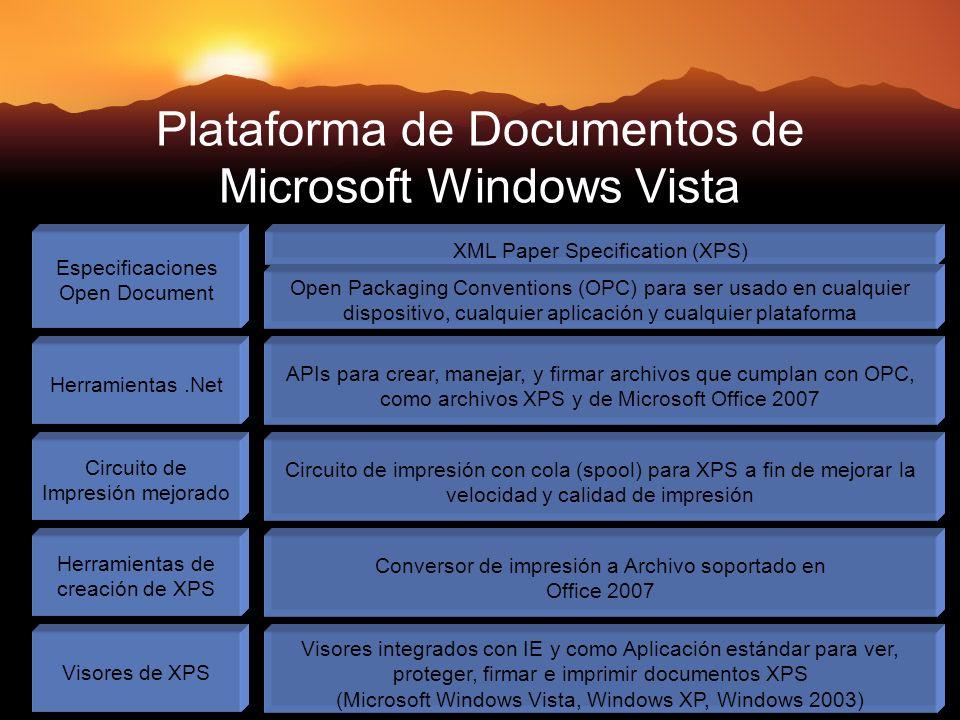 Plataforma de Documentos de Microsoft Windows Vista Especificaciones Open Document XML Paper Specification (XPS) Herramientas.Net APIs para crear, manejar, y firmar archivos que cumplan con OPC, como archivos XPS y de Microsoft Office 2007 Circuito de Impresión mejorado Circuito de impresión con cola (spool) para XPS a fin de mejorar la velocidad y calidad de impresión Herramientas de creación de XPS Conversor de impresión a Archivo soportado en Office 2007 Visores de XPS Visores integrados con IE y como Aplicación estándar para ver, proteger, firmar e imprimir documentos XPS (Microsoft Windows Vista, Windows XP, Windows 2003) Open Packaging Conventions (OPC) para ser usado en cualquier dispositivo, cualquier aplicación y cualquier plataforma