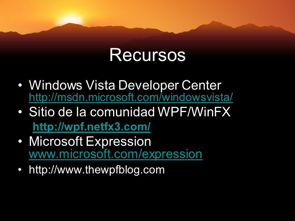 Recursos Windows Vista Developer Center http://msdn.microsoft.com/windowsvista/ http://msdn.microsoft.com/windowsvista/ Sitio de la comunidad WPF/WinFX http://wpf.netfx3.com/ Microsoft Expression www.microsoft.com/expression www.microsoft.com/expression http://www.thewpfblog.com