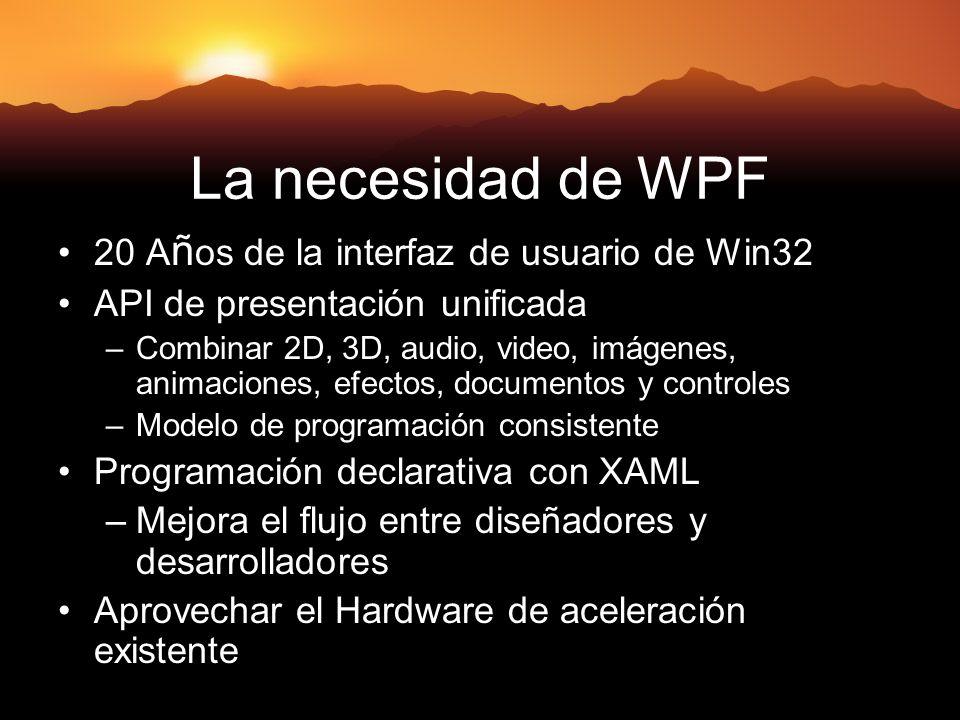 La necesidad de WPF 20 A ñ os de la interfaz de usuario de Win32 API de presentación unificada –Combinar 2D, 3D, audio, video, imágenes, animaciones, efectos, documentos y controles –Modelo de programación consistente Programación declarativa con XAML –Mejora el flujo entre diseñadores y desarrolladores Aprovechar el Hardware de aceleración existente