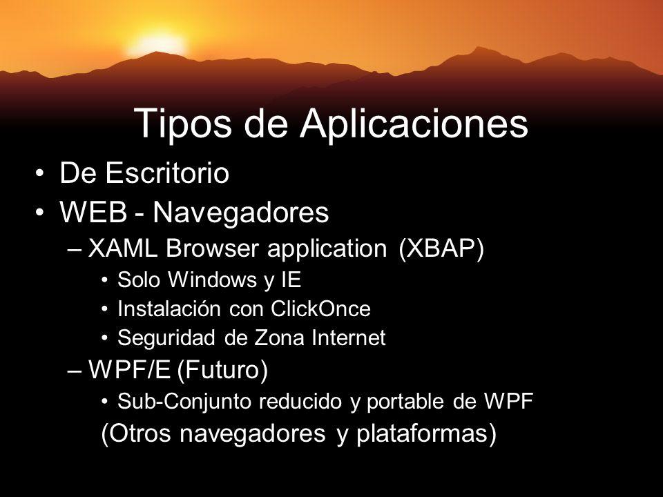 Tipos de Aplicaciones De Escritorio WEB - Navegadores –XAML Browser application (XBAP) Solo Windows y IE Instalación con ClickOnce Seguridad de Zona Internet –WPF/E (Futuro) Sub-Conjunto reducido y portable de WPF (Otros navegadores y plataformas)