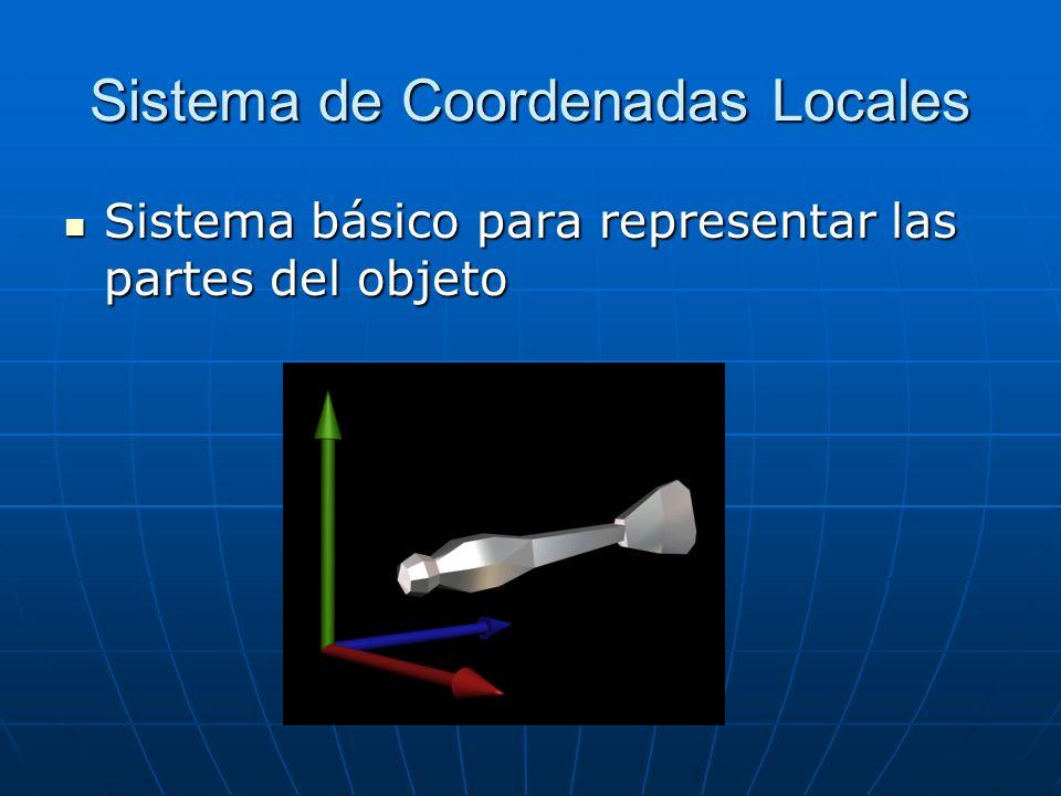 Sistema de Coordenadas Locales Sistema básico para representar las partes del objeto Sistema básico para representar las partes del objeto