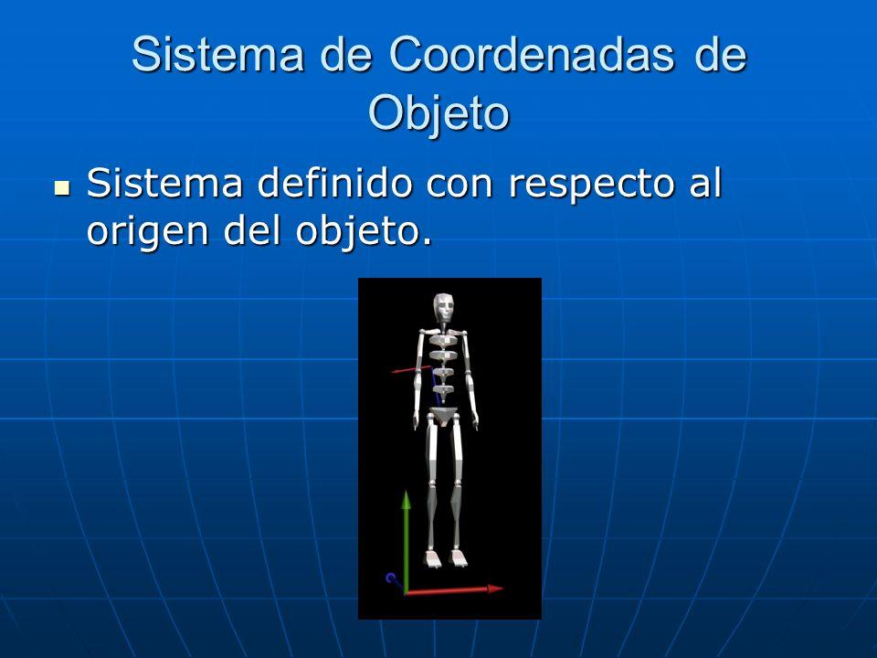 Sistema de Coordenadas de Objeto Sistema definido con respecto al origen del objeto. Sistema definido con respecto al origen del objeto.