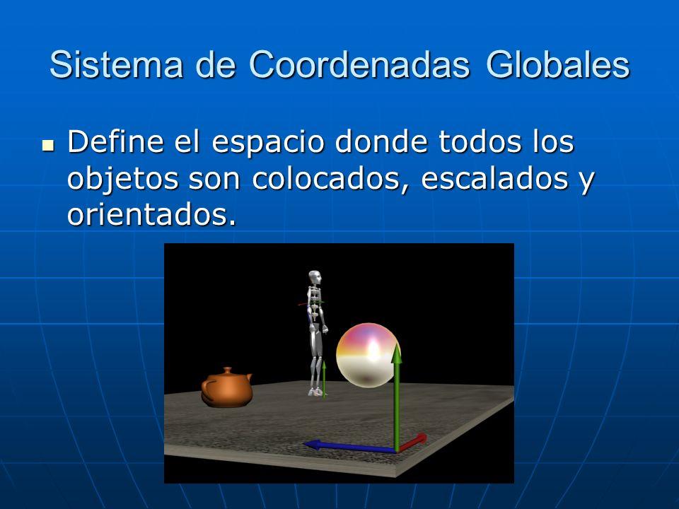 Sistema de Coordenadas Globales Define el espacio donde todos los objetos son colocados, escalados y orientados. Define el espacio donde todos los obj