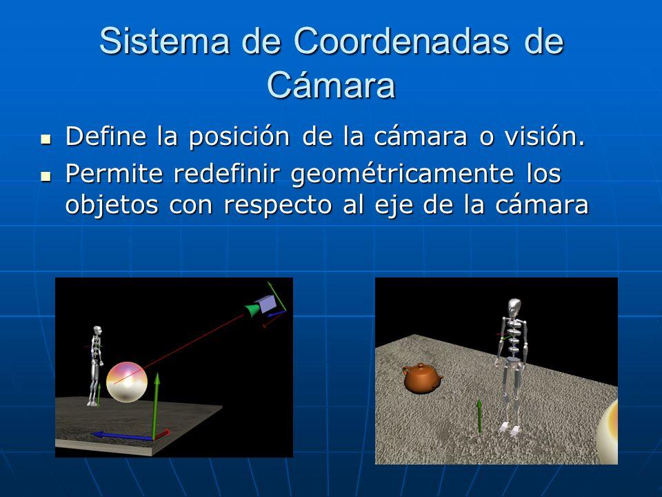 Sistema de Coordenadas de Cámara Define la posición de la cámara o visión. Define la posición de la cámara o visión. Permite redefinir geométricamente