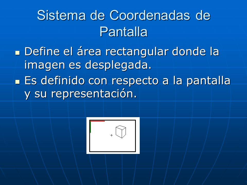 Sistema de Coordenadas de Pantalla Define el área rectangular donde la imagen es desplegada. Define el área rectangular donde la imagen es desplegada.