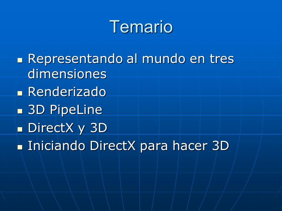 Temario Representando al mundo en tres dimensiones Representando al mundo en tres dimensiones Renderizado Renderizado 3D PipeLine 3D PipeLine DirectX