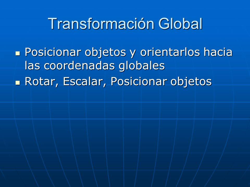 Transformación Global Posicionar objetos y orientarlos hacia las coordenadas globales Posicionar objetos y orientarlos hacia las coordenadas globales