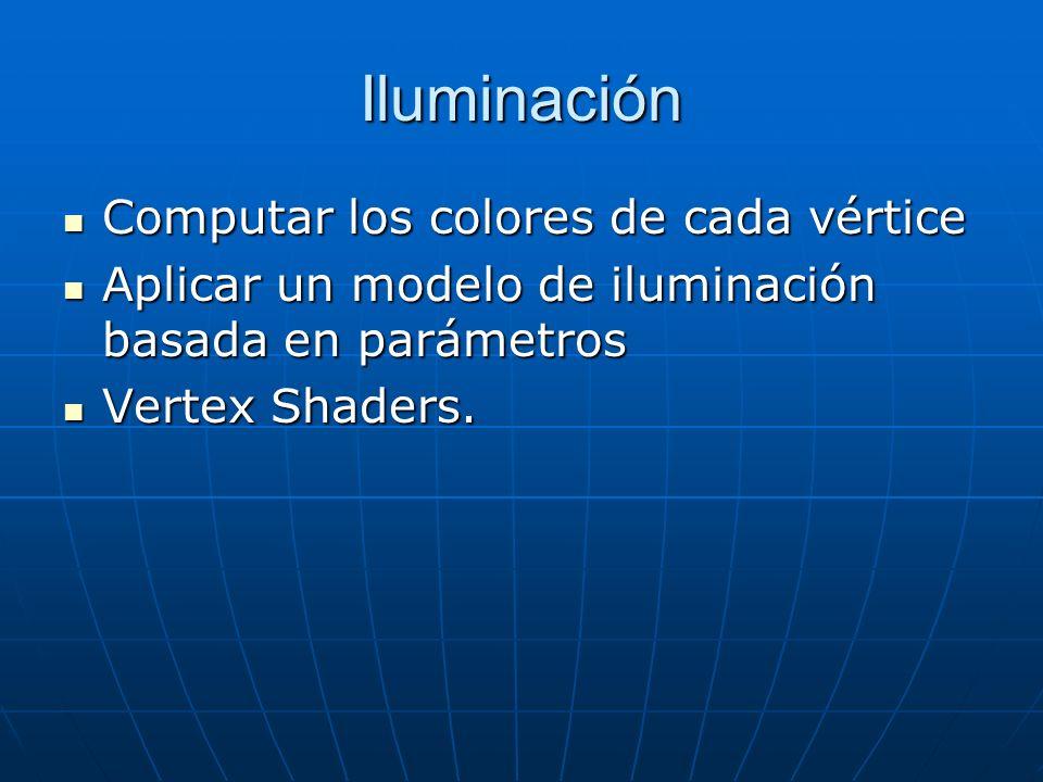 Iluminación Computar los colores de cada vértice Computar los colores de cada vértice Aplicar un modelo de iluminación basada en parámetros Aplicar un