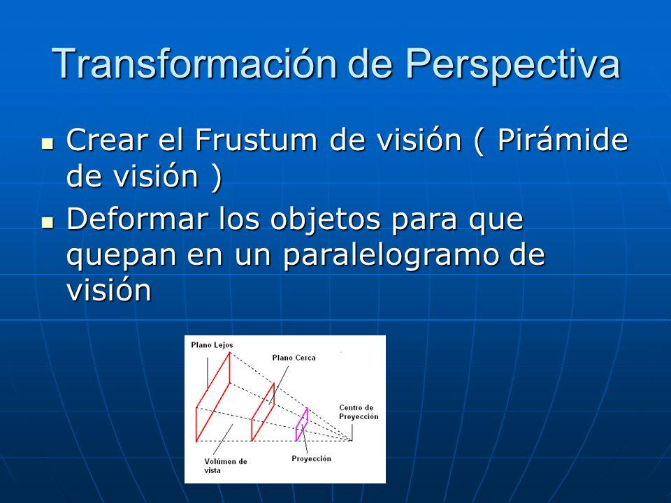 Transformación de Perspectiva Crear el Frustum de visión ( Pirámide de visión ) Crear el Frustum de visión ( Pirámide de visión ) Deformar los objetos