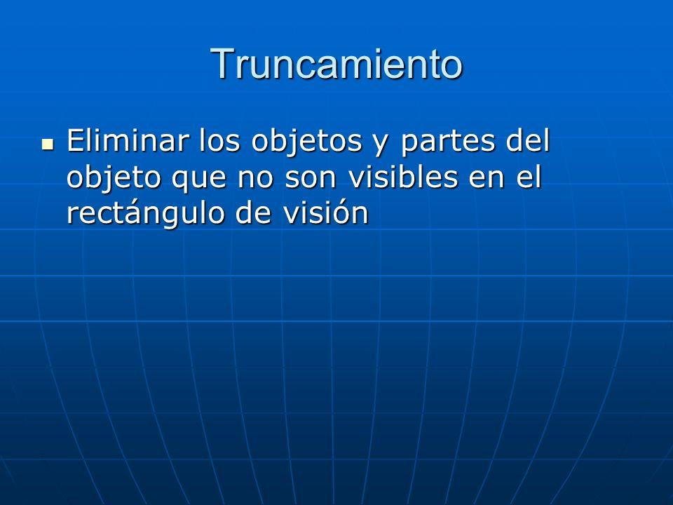Truncamiento Eliminar los objetos y partes del objeto que no son visibles en el rectángulo de visión Eliminar los objetos y partes del objeto que no s