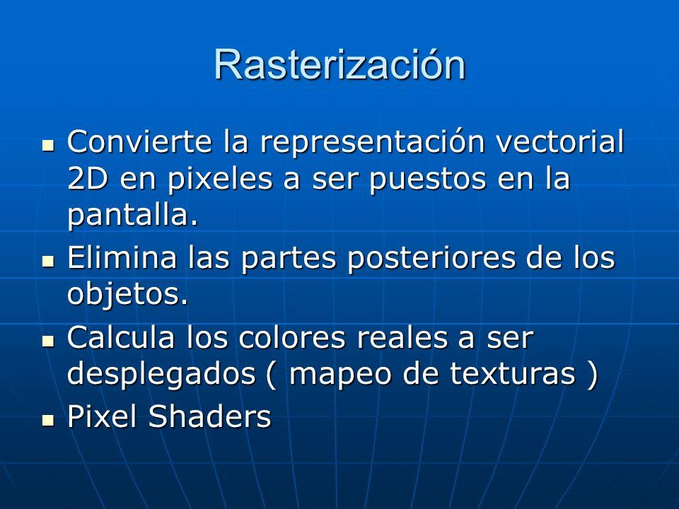 Rasterización Convierte la representación vectorial 2D en pixeles a ser puestos en la pantalla. Convierte la representación vectorial 2D en pixeles a