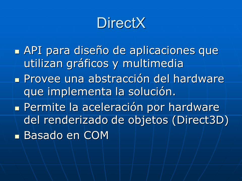 DirectX API para diseño de aplicaciones que utilizan gráficos y multimedia API para diseño de aplicaciones que utilizan gráficos y multimedia Provee u