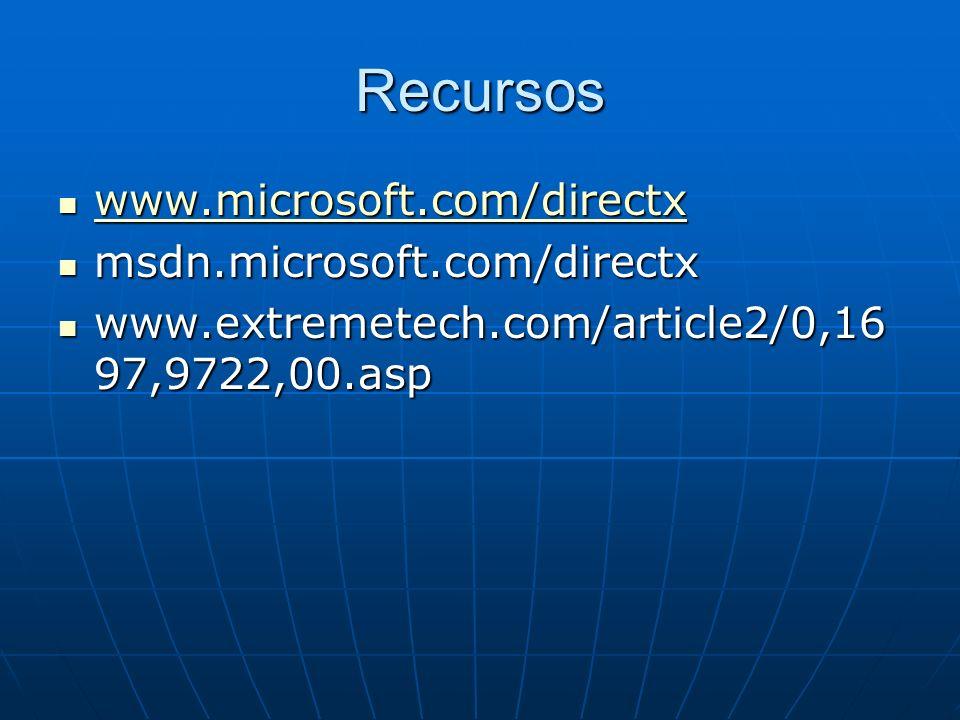 Recursos www.microsoft.com/directx www.microsoft.com/directx www.microsoft.com/directx msdn.microsoft.com/directx msdn.microsoft.com/directx www.extre