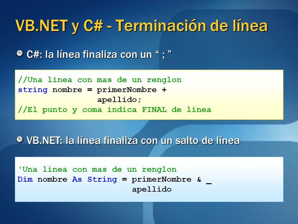 VB.NET y C# - Terminación de línea C#: la línea finaliza con un ; C#: la línea finaliza con un ; VB.NET: la línea finaliza con un salto de línea //Una