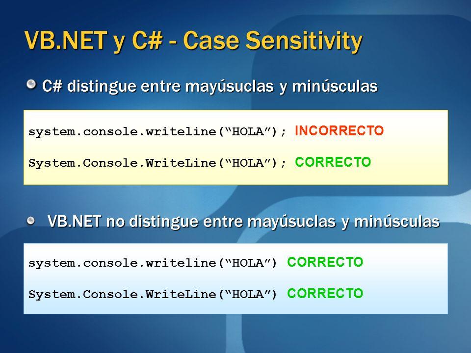 VB.NET y C# - Case Sensitivity C# distingue entre mayúsuclas y minúsculas VB.NET no distingue entre mayúsuclas y minúsculas system.console.writeline(H