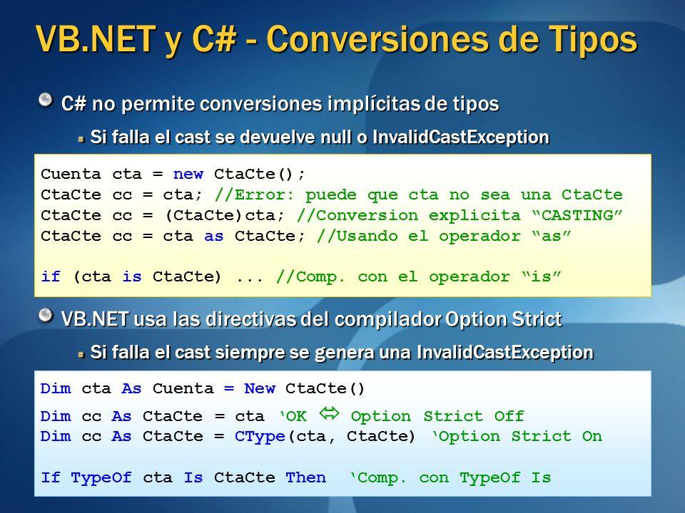 VB.NET y C# - Conversiones de Tipos C# no permite conversiones implícitas de tipos Si falla el cast se devuelve null o InvalidCastException VB.NET usa