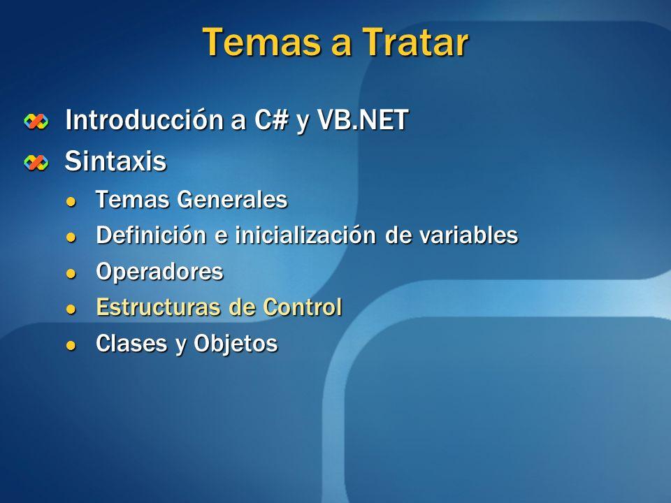 Temas a Tratar Introducción a C# y VB.NET Sintaxis Temas Generales Temas Generales Definición e inicialización de variables Definición e inicializació