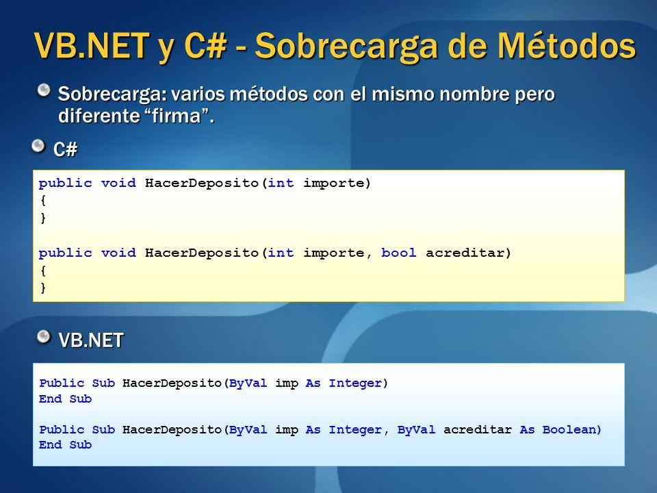 VB.NET y C# - Sobrecarga de Métodos C# VB.NET public void HacerDeposito(int importe) { } public void HacerDeposito(int importe, bool acreditar) { } Pu
