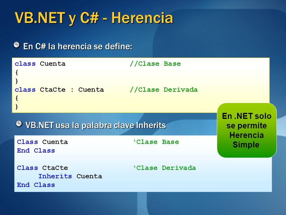 VB.NET y C# - Herencia En C# la herencia se define: VB.NET usa la palabra clave Inherits class Cuenta //Clase Base { } class CtaCte : Cuenta //Clase D
