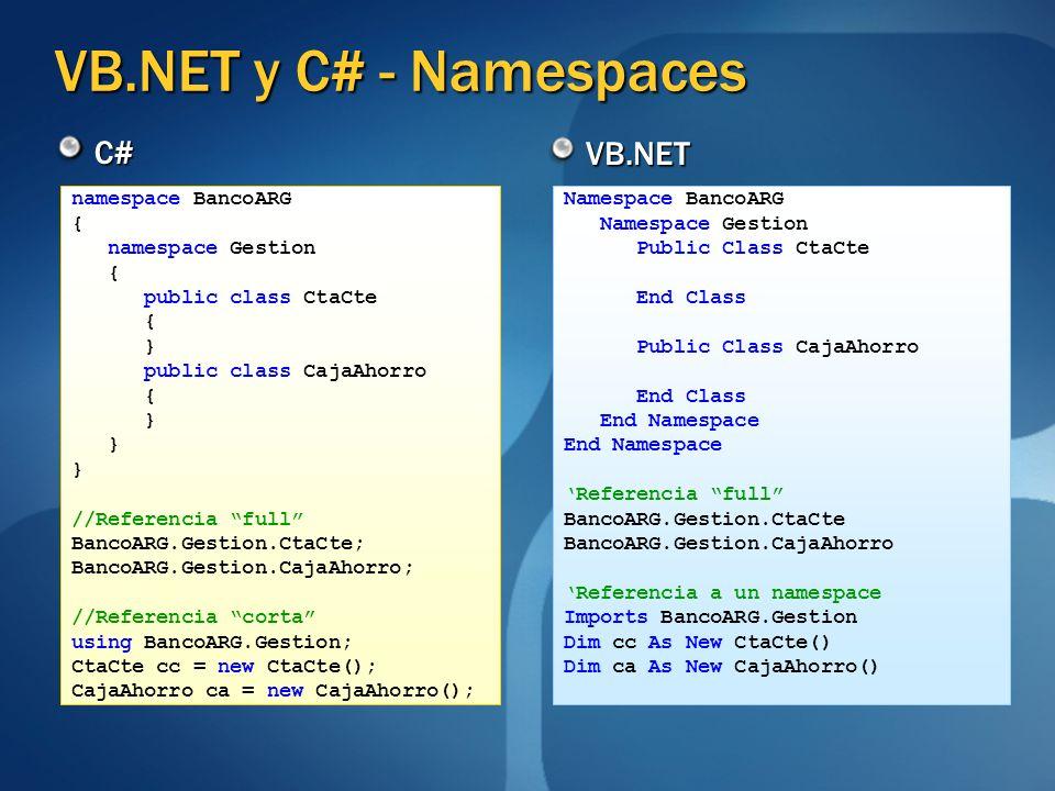 VB.NET y C# - Namespaces C# VB.NET namespace BancoARG { namespace Gestion { public class CtaCte { } public class CajaAhorro { } //Referencia full Banc