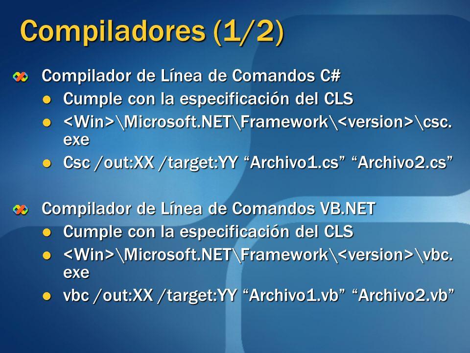 Compiladores (1/2) Compilador de Línea de Comandos C# Cumple con la especificación del CLS Cumple con la especificación del CLS \Microsoft.NET\Framewo