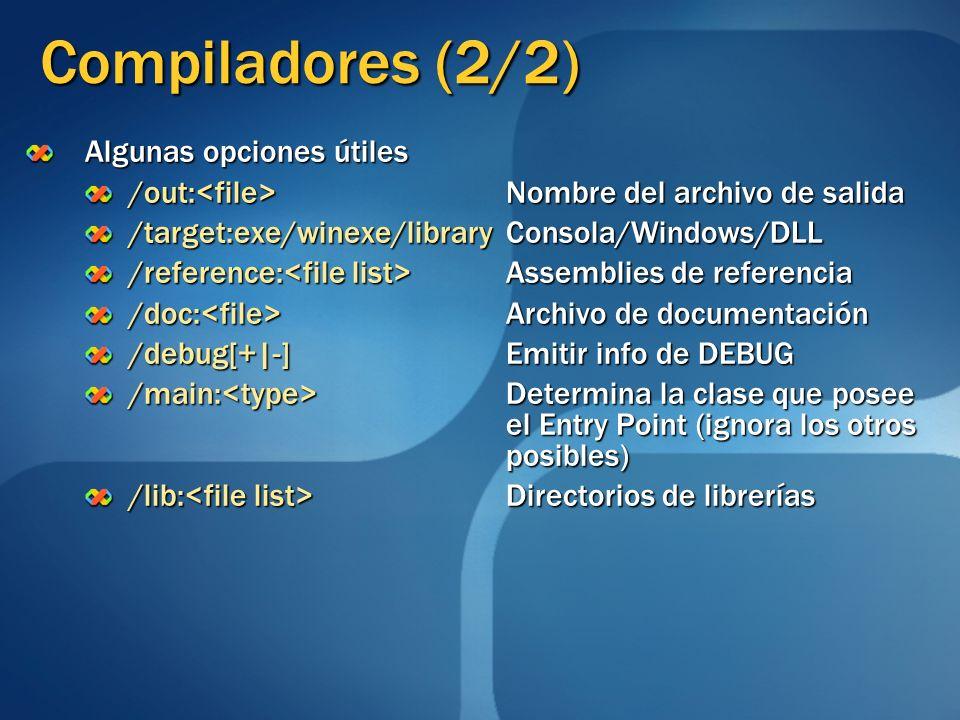 Compiladores (2/2) Algunas opciones útiles /out: Nombre del archivo de salida /target:exe/winexe/libraryConsola/Windows/DLL /reference: Assemblies de