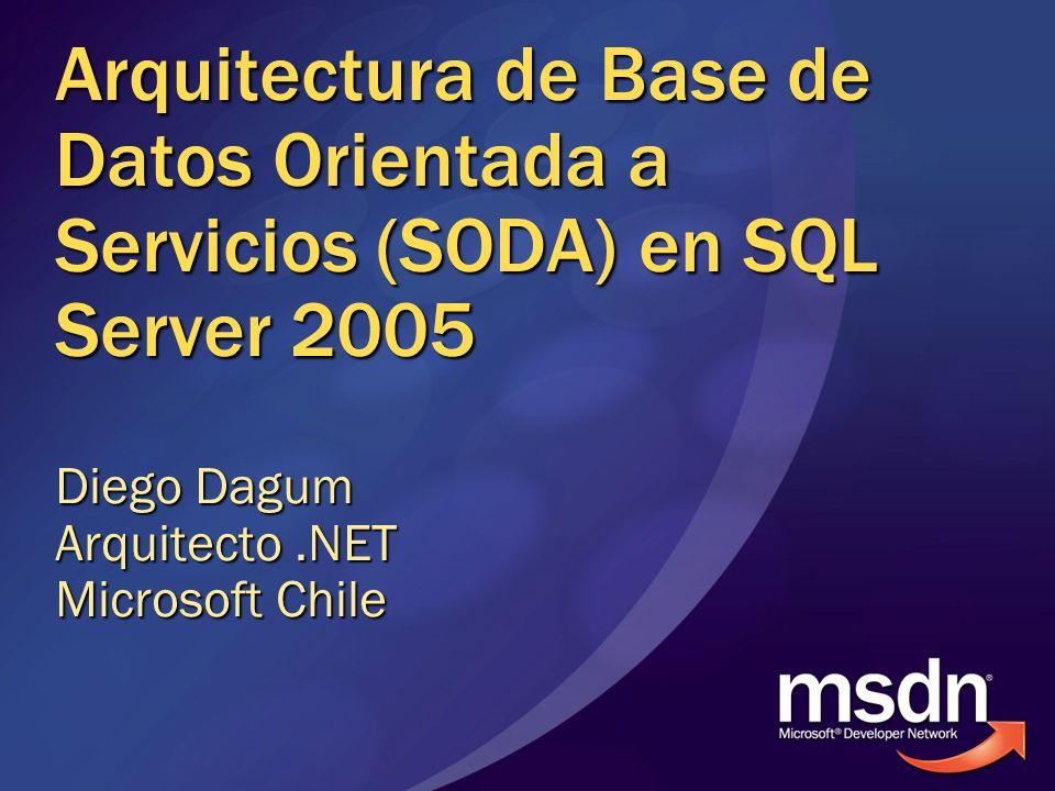 Arquitectura de Base de Datos Orientada a Servicios (SODA) en SQL Server 2005 Diego Dagum Arquitecto.NET Microsoft Chile
