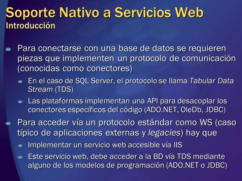 Soporte Nativo a Servicios Web Introducción Para conectarse con una base de datos se requieren piezas que implementen un protocolo de comunicación (co