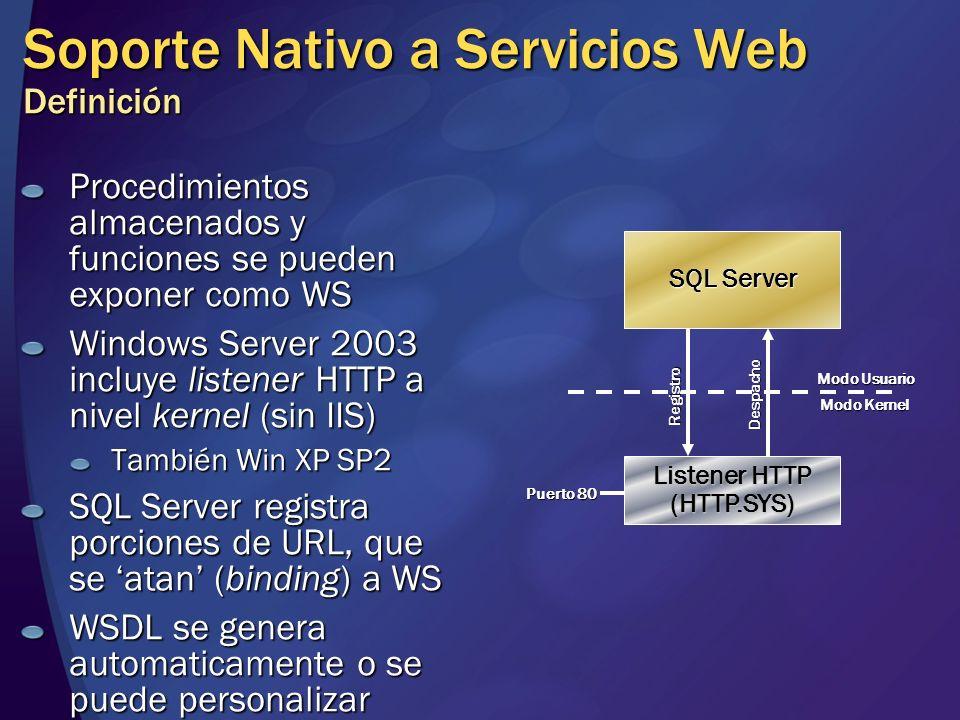Soporte Nativo a Servicios Web Definición Procedimientos almacenados y funciones se pueden exponer como WS Windows Server 2003 incluye listener HTTP a
