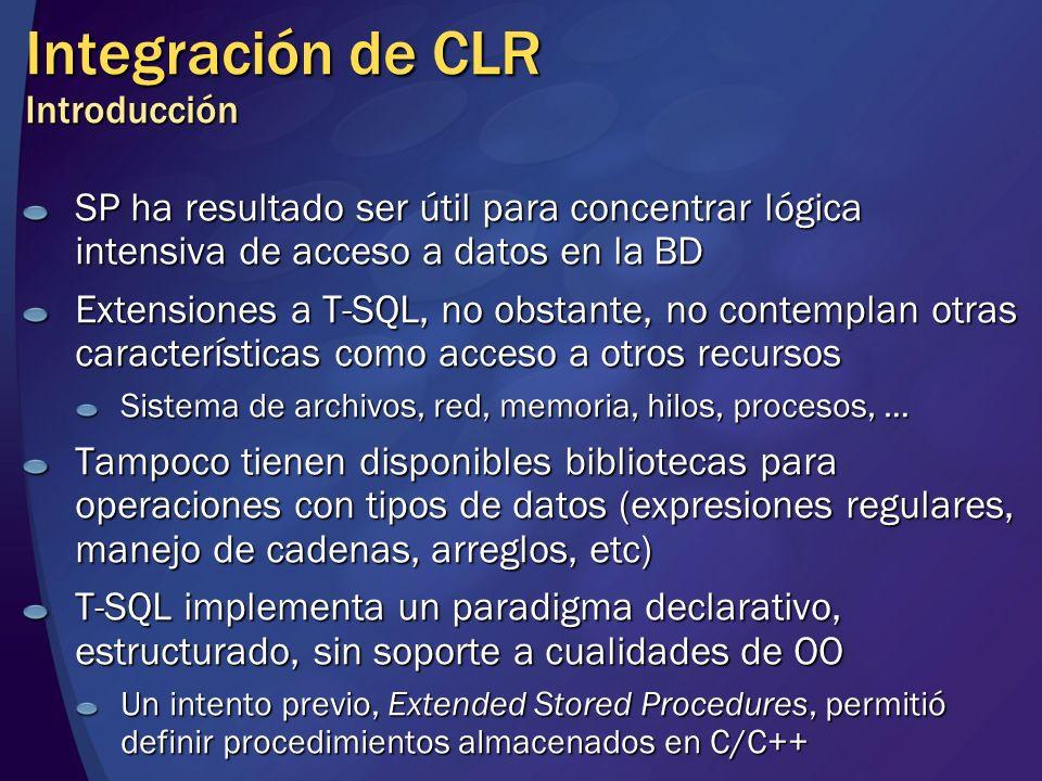 Integración de CLR Introducción SP ha resultado ser útil para concentrar lógica intensiva de acceso a datos en la BD Extensiones a T-SQL, no obstante,