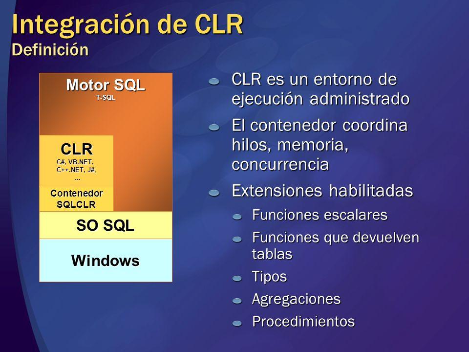 Integración de CLR Definición CLR es un entorno de ejecución administrado El contenedor coordina hilos, memoria, concurrencia Extensiones habilitadas