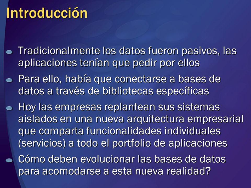 Intermediario de Servicios Nuevos objetos en la base de datos MensajesContratosColasServicios Nuevos comandos T-SQL CREATE / ALTER / DROP MESSAGE TYPE CREATE / ALTER / DROP MESSAGE TYPE CREATE / ALTER / DROP CONTRACT ( ) CREATE / ALTER / DROP QUEUE CREATE / ALTER / DROP QUEUE CREATE / ALTER / DROP SERVICE (contrato) ON QUEUE CREATE / ALTER / DROP SERVICE (contrato) ON QUEUE BEGIN DIALOG CONVERSATION BEGIN DIALOG CONVERSATION SEND ON CONVERSACION MESSAGE TYPE SEND ON CONVERSACION MESSAGE TYPE END DIALOG GET CONVERSATION GROUP … FROM GET CONVERSATION GROUP … FROM RECEIVE … FROM RECEIVE … FROM