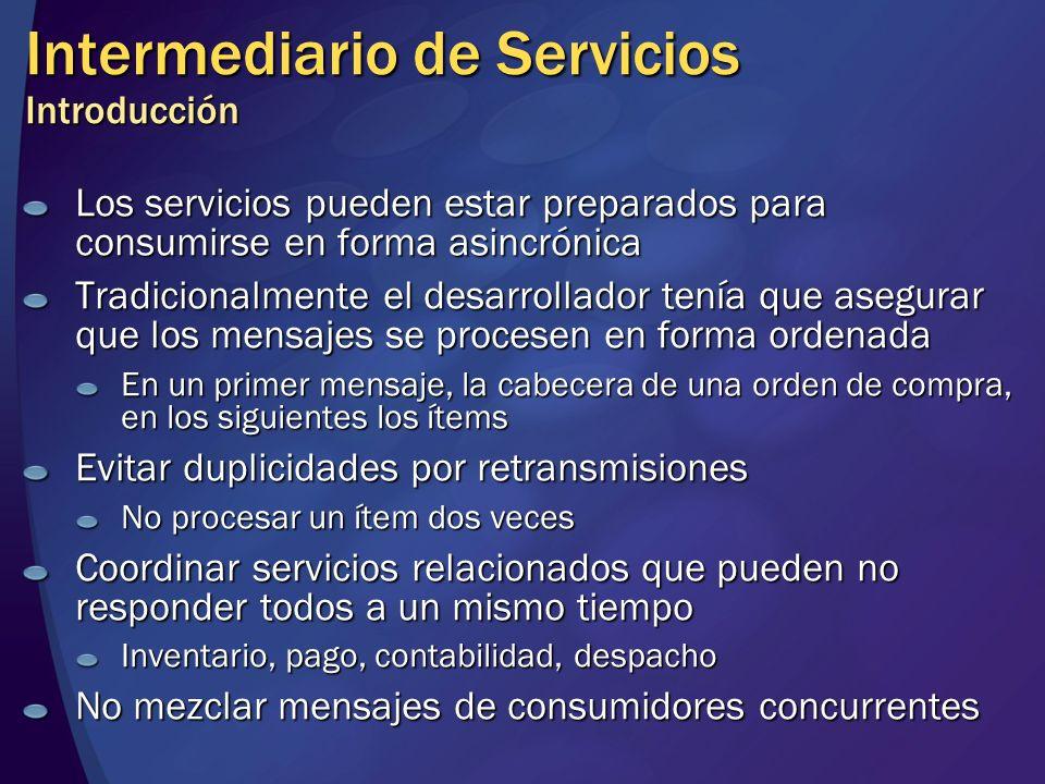Intermediario de Servicios Introducción Los servicios pueden estar preparados para consumirse en forma asincrónica Tradicionalmente el desarrollador t
