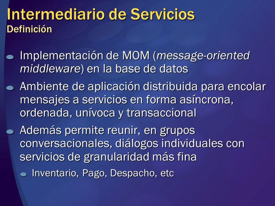 Intermediario de Servicios Definición Implementación de MOM (message-oriented middleware) en la base de datos Ambiente de aplicación distribuida para