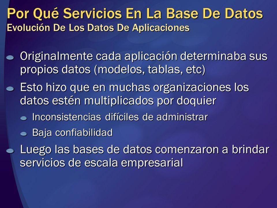 Por Qué Servicios En La Base De Datos Evolución De Los Datos De Aplicaciones Originalmente cada aplicación determinaba sus propios datos (modelos, tab